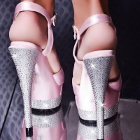 SEXY PLATEAU HIGH HEELS WITH RHINESTONES PINK UK 6