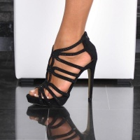 SEXY PLATFORM SANDALS HIGH HEELS WITH SPARKLING STONES BLACK UK 5