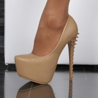 SEXY PLATFORM SHOES HIGH HEELS WITH SPIKES GOGO BEIGE UK 4