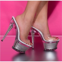 SEXY PLATFORM SHOES HIGH HEELS MULES GOGO SILVER