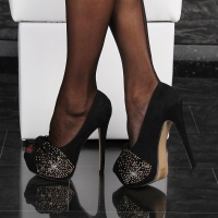 SEXY VELOUR PLATFORM SHOES PEEP TOES HIGH HEELS BLACK