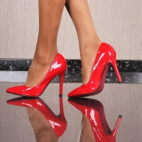 SEXY COURT SHOES HIGH HEELS MADE OF IMITATION PATENT LEATHER RED