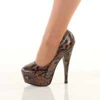 SEXY PLATFORM PUMPS HIGH HEELS SNAKE-LOOK BROWN