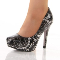 SEXY PLATFORM PUMPS HIGH HEELS SNAKE-LOOK BLACK UK 3.5