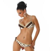 SEXY PUSH-UP BIKINI BEACHWEAR BROWN UK 12