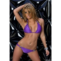 SEXY PUSH-UP BIKINI BEACHWEAR WITH DECORATING RINGS PURPLE UK 14 (XL)