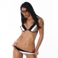 SEXY PUSH-UP BIKINI BEACHWEAR BLACK/WHITE/LEOPARD UK 8/10 (S)