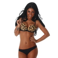 SEXY PUSH-UP BIKINI WITH LEOPARD PATTERN BEACHWEAR BLACK
