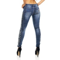 SEXY SKINNY REDIAL DRAINPIPE JEANS IN DESTROYED-LOOK DARK BLUE UK 8 (XS)