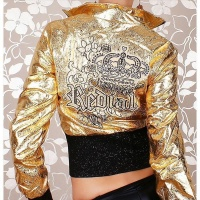 SEXY REDIAL GLAMOUR BIKER JACKET CLUBBING GOLD/BLACK UK 8 (S)