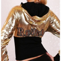 SEXY REDIAL JACKET WITH HOOD METALLIC-LOOK GOLD/BLACK UK 8 (S)