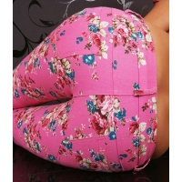SEXY REDIAL DRAINPIPE PANTS CLOTH PANTS WITH FLOWER DESIGN FUCHSIA UK 8 (S)