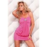 SEXY REDIAL STRAP MINIDRESS WITH CHIFFON BROOCH FUCHSIA