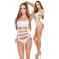SEXY MONOKINI WITH STRAPS BEACHWEAR BRAZIL-CUT WHITE UK 8 (S)