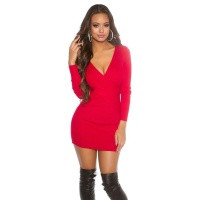 SEXY RIB-KNITTED LONG-SLEEVED MINIDRESS IN WRAP-LOOK RED