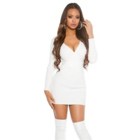 SEXY RIB-KNITTED LONG-SLEEVED MINIDRESS IN WRAP-LOOK WHITE Onesize (UK 8,10,12)
