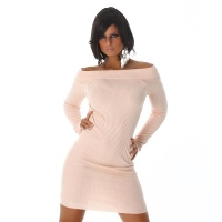 SEXY RIB-KNIT LONG-SLEEVED MINIDRESS WITH BOAT NECKLINE...