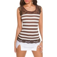 SEXY SHORT-SLEEVED RIB-KNIT SHIRT WITH LACE BROWN/WHITE