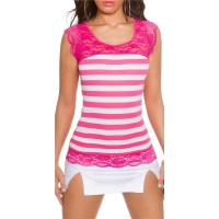 SEXY SHORT-SLEEVED RIB-KNIT SHIRT WITH LACE FUCHSIA/WHITE