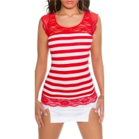 SEXY SHORT-SLEEVED RIB-KNIT SHIRT WITH LACE RED/WHITE