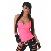 SEXY TANKTOP WITH RHINESTONES NEON-FUCHSIA UK 14