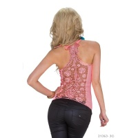 SEXY RIB-KNITTED STRAPPY TOP WITH LACE AT THE BACK NEON-CORAL