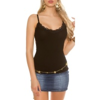 SWEET RIB-KNIT STRAPPY TOP WITH LACE AT THE NECKLINE BLACK
