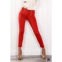SEXY DRAINPIPE PANTS DRESS PANTS WITH BUTTONS RED