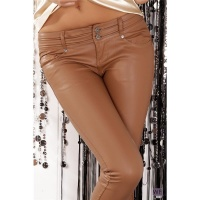 SEXY DRAINPIPE PANTS IN LEATHER-LOOK FETISH WET LOOK CAMEL UK 10