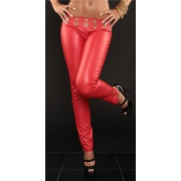 SEXY DRAINPIPE PANTS IN LEATHER-LOOK FETISH WET LOOK RED UK 10 (S)