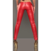 SEXY DRAINPIPE PANTS IN LEATHER-LOOK FETISH WET LOOK RED UK 12 (M)