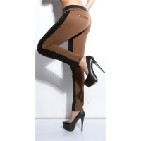 SEXY SKINNY DRAINPIPE PANTS IN FABRIC-MIX LEATHER-LOOK BLACK/BROWN UK 8 (XS)