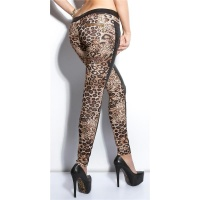 SEXY SKINNY DRAINPIPE PANTS IN FABRIC-MIX LEATHER-LOOK BLACK/LEOPARD UK 16 (XL)