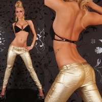 SEXY DRAINPIPE PANTS WITH GLITTER-EFFECTS WET LOOK GOLD