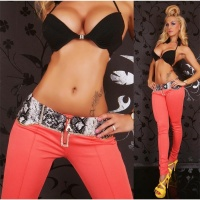 SEXY DRAINPIPE PANTS CLOTH PANTS WITH RHINESTONES CORAL UK 14 (L)