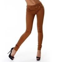 SEXY DRAINPIPE PANTS CLOTH PANTS WITH DRAPES CAMEL