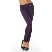 SEXY DRAINPIPE PANTS CLOTH PANTS WITH DRAPES DARK PURPLE UK 10