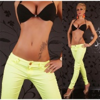 SEXY DRAINPIPE PANTS CLOTH PANTS NEON-YELLOW UK 16 (XL)