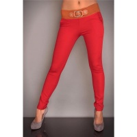 SEXY DRAINPIPE PANTS CLOTH PANTS RED/BROWN UK 10/12 (M/L)