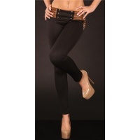 SEXY DRAINPIPE PANTS CLOTH PANTS BLACK/BROWN UK 10 (S)