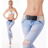SEXY DRAINPIPE JEANS IN DESTROYED LOOK INCL. BELT LIGHT BLUE