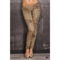 SEXY DRAINPIPE JEANS IN LEOPARD-LOOK BEIGE/BLACK UK 12 (M)