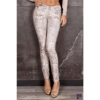SEXY DRAINPIPE JEANS LEOPARD-LOOK WITH ZIPPER BEIGE/BROWN