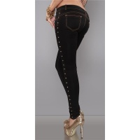 SEXY DRAINPIPE JEANS WITH RIVETS BLACK