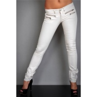 SEXY DRAINPIPE JEANS WITH ZIPPER BEIGE