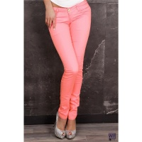 SEXY DRAINPIPE JEANS NEON-PINK UK 10