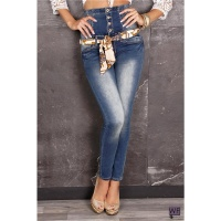 SEXY DRAINPIPE JEANS WITH HIGH WAIST BLUE WASHED UK 14
