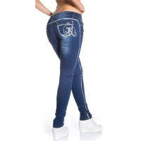 SEXY DRAINPIPE JEANS WITH SILVER STRIPES AND RHINESTONES DARK BLUE