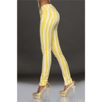 SEXY DRAINPIPE JEANS WITH STRIPED PATTERN YELLOW/WHITE