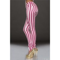 SEXY DRAINPIPE JEANS WITH STRIPED PATTERN FUCHSIA/WHITE